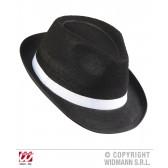 zwarte gangster hoed met witte band