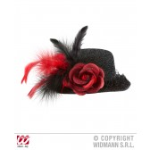 mini hoge hoed zwart lurex met roos