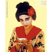 pruik, geisha met bloem (in plastic doos)