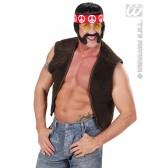 pruik, hippie zwart met snor, bakkebaard en bril