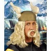 pruik, viking met snor (in plastic doos)