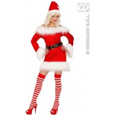 Miss Santa Fluweel/pluche (kostuum + Riem)