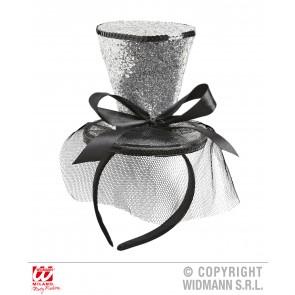 zilveren mini hoge hoed met sluier