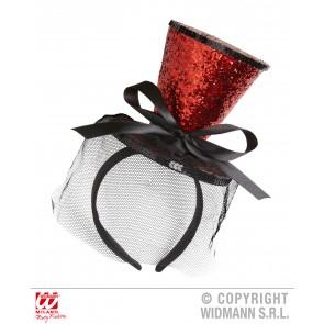 rode mini hoge hoed met sluier