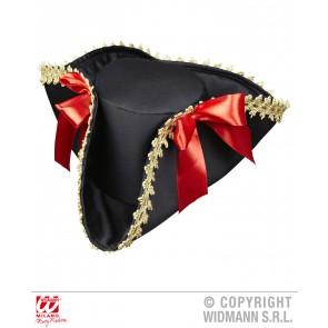 piraten tricorn met gouden rand en strik
