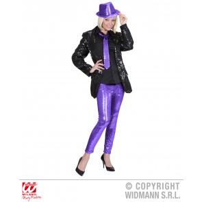 pailletten legging paars m