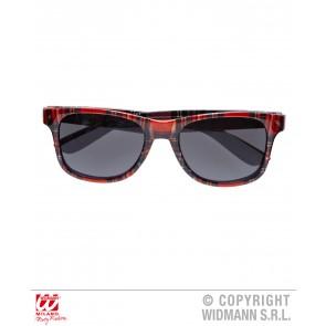 bril, tartan print rood