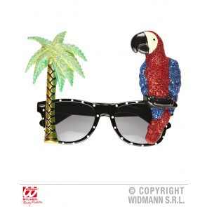 bril, papegaai en palmboom