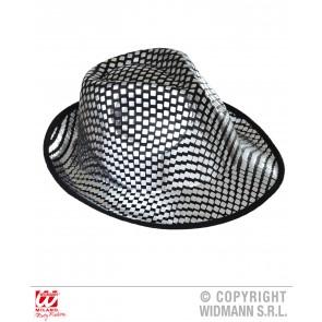 fedora hoed vierkante pailletten zilver