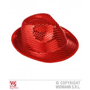 fedora hoed vierkante pailletten rood