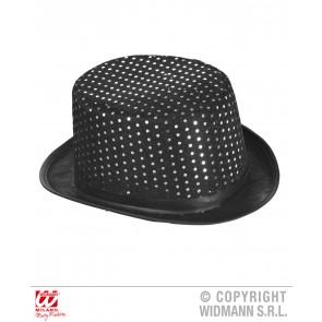 zwarte hoge hoed lurex met pailletten