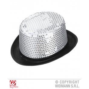 hoge hoed pailletten zilver