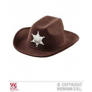 cowboyhoed bruin met sheriff ster kind