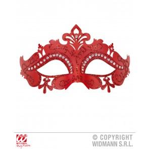 oogmasker venetie met stenen, rood