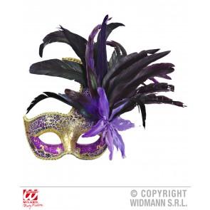 colombina veren masker paars met stenen