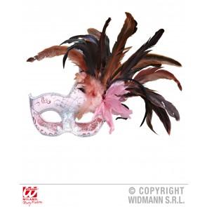 colombina veren masker licht Roze met stenen