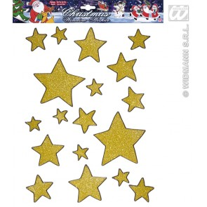 set van 18 gouden glitter ster stickers
