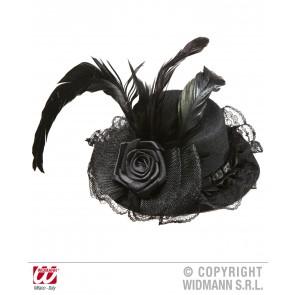minihoedjes zwart met bloem tule en veren