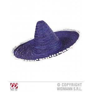 sombrero 50cm, blauw/paars met pom poms