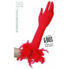 handschoenen met veren, rood