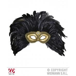oogmasker goud met diamant en veren