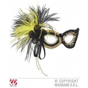 oogmasker tijger met roos, stenen en veren