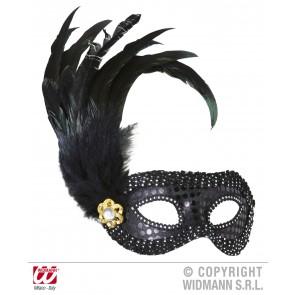 oogmasker zwart met stenen en veren