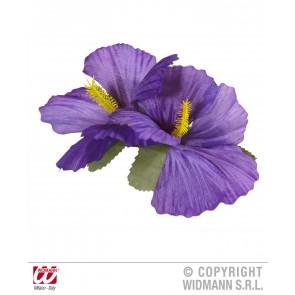 haarclip met 2x hibiscus paars