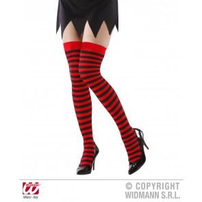 kniekousen rood/zwart gestreept xl