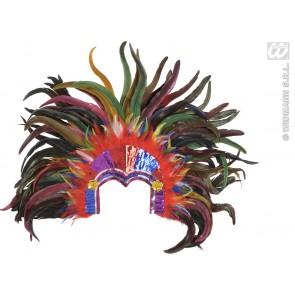 hoodfband tropicana met pailleteen en veelkleurige veren