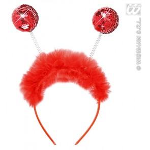 hoofdband rood pailletten met maraboe