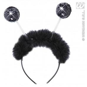 hoofdband zwart pailletten met maraboe