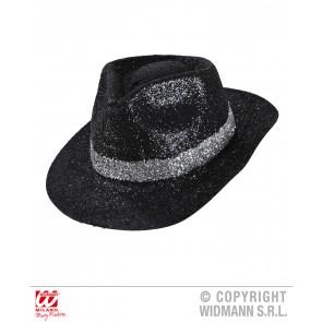 zwarte glitter fedora hoed met band