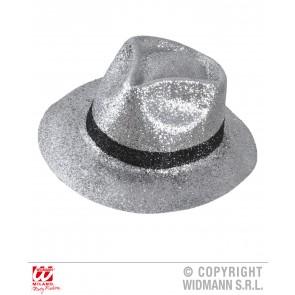 zilver glitter fedora hoed met band