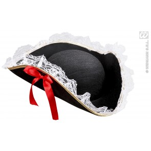 tricorn hoed met kant en rode strik