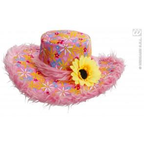 hoed ibiza met zonnebloem, rose