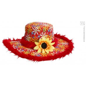 hoed ibiza met zonnebloem, rood