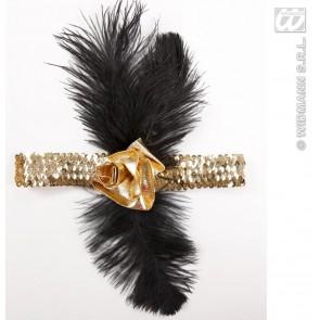 1920's pailleten hoofdband goud met bloem en veren