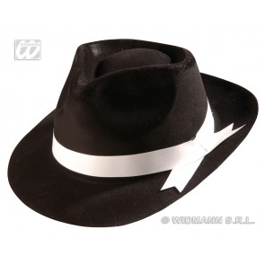 gangster hoed fluweel, zwart met band