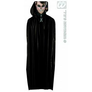 lange zwarte cape met kap, 142 cm