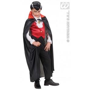kindercape zwart met rode kraag