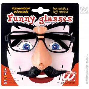 bril met bewegende wenkbrauwen en snor
