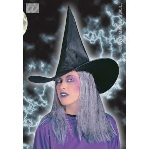 heksenhoed met grijs haar