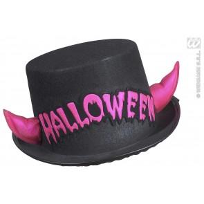 hoge hoed halloween met rose spiegelende hoorntjes