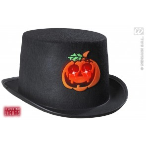 hoge hoed pompoen met flikkerend licht
