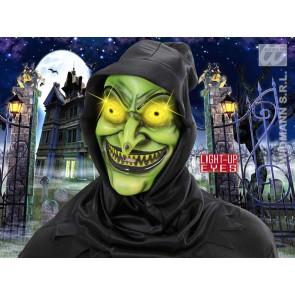 heksenmasker met kap, lichtg. ogen