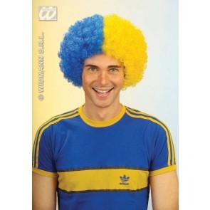 pruik, krullen blauw/geel