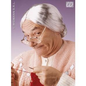 pruik, grootmoeder (in plastic zak)