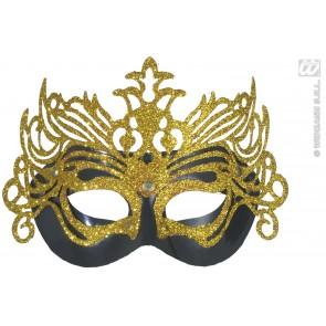 oogmasker, carnaval zwart met goud opgezet