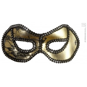 oogmasker, zwart/goud met kant op ogen